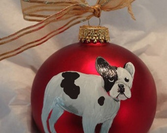 French Bulldog Black Frenchie Piebald Dog Hand Painted Christmas Ornament - Can Be Personalized with Name