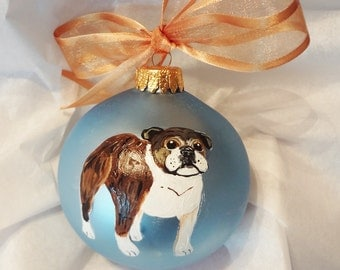 Bulldog Brindle Dog Hand Painted Christmas Ornament - Can Be Personalized with Name