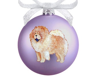 Chow Chow Dog (Cinnamon) Hand Painted Christmas Ornament - Can Be Personalized with Name