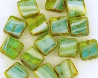Aqua Olivine 11mm Window Beads Picasso Czech Glass Squares 11mm - 15
