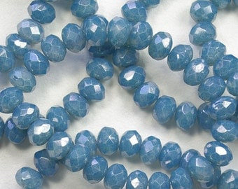 Denim Blue Luster Czech Glass Faceted Donut Rondelle Beads 6x8mm - 25