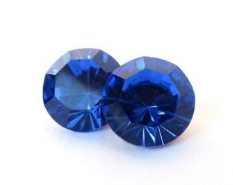 Vintage Swarovski Crystal Sapphire Blue Rhinestone 60ss Round Jewel ss60 14mm swa0651 (2)
