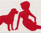 Labrador and Pin Up Silhouette, Red Vinyl Decal