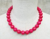 Hot  Pink Beaded Necklace, Deep Rose Beads Choker