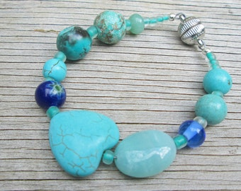 Blue Heart Mixed Bead Turquoise Cobalt Bracelet, Magnetic Clasp