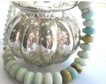 SALE Aquamarine Sea Foam Rhinestone Chunky Beaded  Necklace, Light Blue Amazonite Beads, Mermaid Necklace, Tiny Dancer