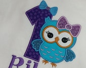 Birthday Shirt, owl birthday, personalized shirt, birthday  embroidered shirt, owl first birthday, 1 owl birthday