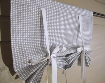 Gray White Houndstooth 72 Inch Long Stage Coach Blind Swedish Roll Up Shade Tie Up Curtain Swag Balloon