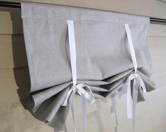 Gray Denim 60 Inch Long Roll Up Window Shade Stage Coach Blind Herringbone