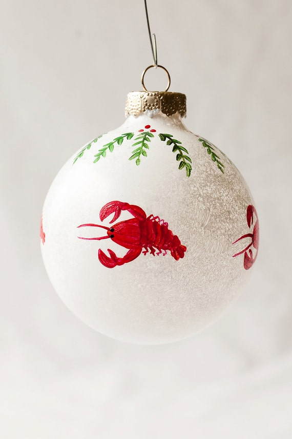 Christmas Ornament, Maine Lobsters on Snowball