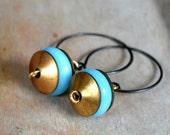 Vintage glass and brass earrings, rustic earrings, boho earrings - Slice of Heaven
