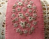 Hand Embroidered  Pink Felt Glasses Case
