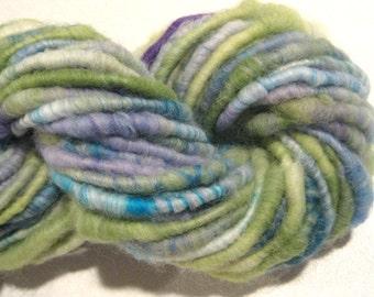 Super Bulky Handspun yarn, Blow Us All Away 48 yards,  angora art yarn corespun yarn, knitting supplies, crochet supplies Waldorf doll hair