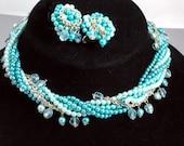 Beaded Necklace Parure, Set, Seven Strands, Aqua Pearls, Blue Glass, Vintage 1950 Jewelry