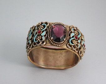 Victorian Hinged Clamper Bracelet, Bangle,  Amethyst Glass, Enamel, Repousse, Etchings, Vintage Revival Jewelry