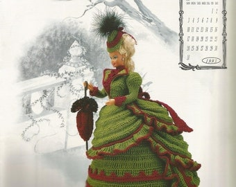 Miss January 1993, Fashion Doll dress, crochet pattern, Annies Calendar Bed Doll Society, sewing pattern, sewing supplies, Victorian Lady
