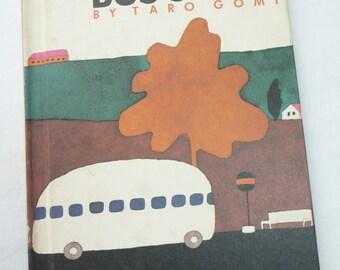 Bus Stops, Taro Gomi, Vintage Childrens Book, Vintage 1988, Hardcover Book, Bus Travels, Childrens Choice Book Club, MacMillan Book,Unique