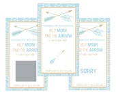 Set of 12 Scratch Off Game Cards for Baby Showers with Tribal Arrows in Blue and Gold SC311