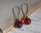 Red Glass Marble Earrings Long Arched Earwires Recycled Jewelry