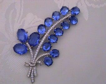 Huge Sapphire Blue & Crystal Rhinestone Pot Metal Statement Brooch