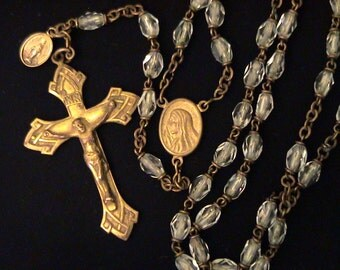 Vintage Crystal and Brass Rosary