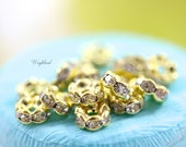 6mm Gold Plated Rhinestone Rondelle Spacer Beads - 10 .
