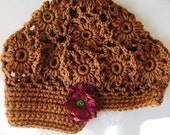Hat Sale Fall Perfection Camel Brown Patchwork Slouchy Brimmed Hat with  Flower GIRL 6 7 8 years
