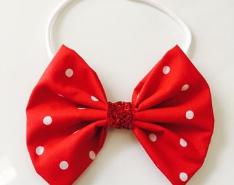 Minnie Mouse Red Polka Dot Girls Hair Bow Stretch Band PHOTOGRAPHY PROP