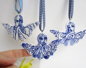 Blue and white Angel -  Christmas decoration  - Original -unique handpainted porcelain Delftware