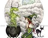 Witch 8.5x11  Witches Brew PRINT by Amy Brown