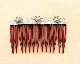 Silver Southwest Flower Comb
