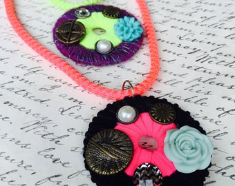 "Neon, Circle, Statement, Pendant Necklace, Yellow, Purple, Pink, Black - Adjustable Cord 19""-21"""