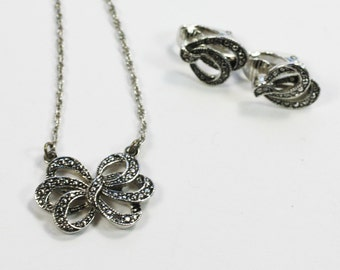 Avon Faux Marcasite Bow Necklace and Earrings Set Vintage