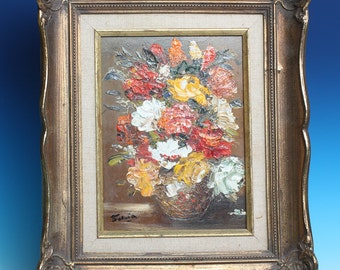 Still Life Flowers in Vase Impasto Oil Painting Signed Sylvia Framed Vintage Home Decor