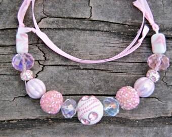 Pink Sparkle Ribbon Necklace