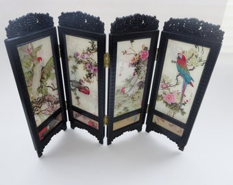 Vintage Table Screen with Asian Motif -  Double Sided Panels Plastic Mini Screen