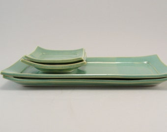Sushi for Two, Handmade Stoneware, Pottery Plate, Ceramic Tableware, Teal, Turquoise, Ready to Ship
