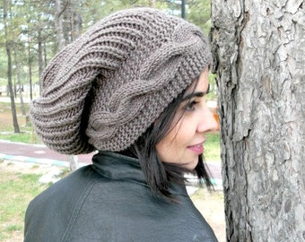 Slouchy Beanie  Slouchy Hat  Boho Beanie  Women  hat  Women  Beanie Winter Hat  chunky knit Hat Taupe   Winter Accessories  - Women  Fashion