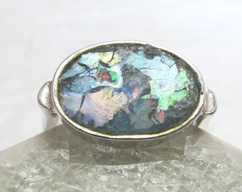 Vintage Sterling Silver and Ancient Roman Glass Ring - Size 6 - 6.25 Signed Luli Hamersztein