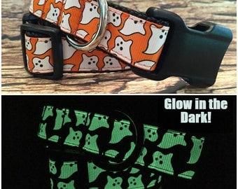 Glow in the Dark Halloween Ghost Dog Collar In M  L XL