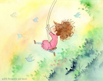 Above the Trees - Girl on Swing with Bluebirds - Art Print