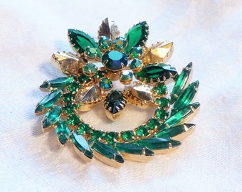 Unsigned Green Brooch Rhinestone AB  Emerald Green Gold  1960s 60s