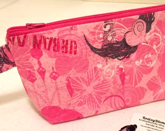 Knitting Project Bag Notions Zipper Pouch Fuchsia Pink Silver Urban Angel Larger Size