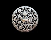 Antique ranch Silver Plated Ermine Brooch