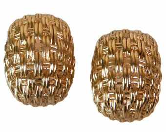 1980s Christian Dior Woven Gold Tone High Fashion Vintage Clip On Earrings