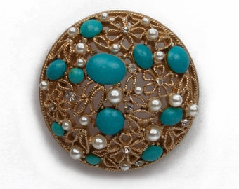 1980 A.V. Signed Paisley Open Work Gold Tone Rhinestone Faux Pearl and Turquoise Bead Domed Round Vintage Brooch Pin