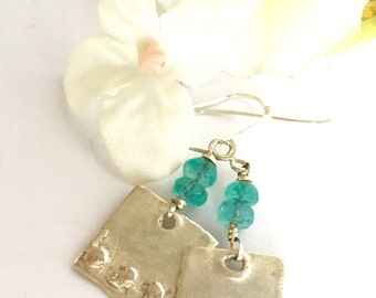 Apatite Earrings, Sterling Silver Textured Dangle Earrings Aqua Stone Earrings