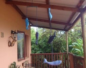 Five Fish Mobile Dolphin Shark Whale Seahorse Stingray hand dyed shades of blue