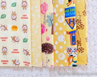 S026 Fabric Scraps Bundle Set - Yellow Colorway Tweeting Birds Working Bees Lovely Trees Floral Flower Garden (6PCS, 9x9 Inches)