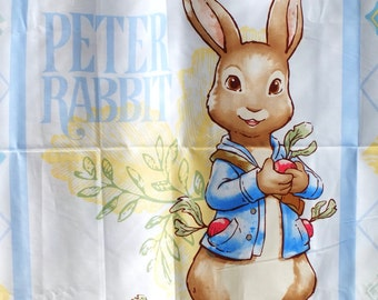 Fairy Tale Storybook Lovely Peter Rabbit Bunny In the Garden Forest Woods,Floral Geometry Diamond Frame-Cotton Fabric(1 Panel, 35x39 Inches)